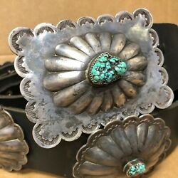 Old Navajo Handmade Sterling Silver Assorted Turquoise Nugget Concho Belt 41