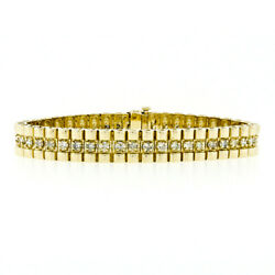 Wide 14K Yellow Gold 3.52ctw Diamond Center Line Domed Link Statement Bracelet