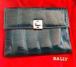Bally Italy Alligator Crocodile Wallet Lamb Leather Travel Cell Case 3500 + Bag