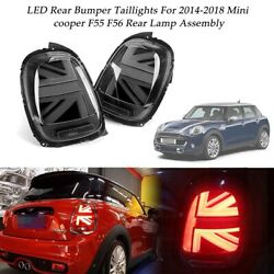 Black Union Jack LED Rear Tail Lights Brake Lamps For 14-18 Mini cooper F55 F56