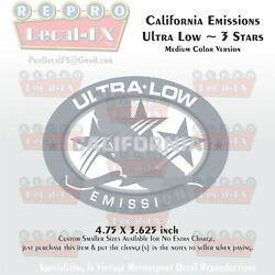 California Emissions Decals Ultra Low Medium Color 3 Stars Outboard