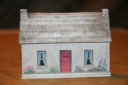 Vtg Miniature House Wall Decor Or Shelf Sitter White Brick Cottage Thatched Roof