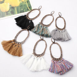 Women Bohemia Long Tassel Fringe Boho Vintage Ear Hoop Earrings Jewelry Gift