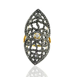 1.22ct Pave Diamond 18k Gold 925 Sterling Silver Long Ring Handmade Jewelry
