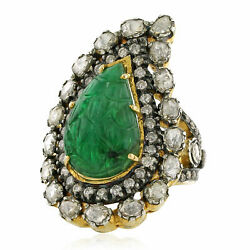 9.08ct Carved Emerald Diamond 14k Gold 925 Sterling Silver Designer Ring Jewelry
