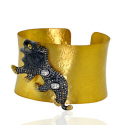 14kt Gold 3.8ct Diamond 925 Sterling Silver Lion Design Cuff Bangle Gift Jewelry