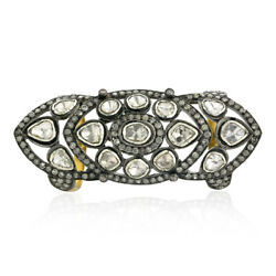 4.19ct Rose Cut Diamond 18k Gold 925 Sterling Silver Knuckle Armor Ring Jewelry