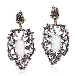 Pave Diamond 4.0ct Pink Tourmaline Sterling Silver Antique Pearl Dangle Earrings