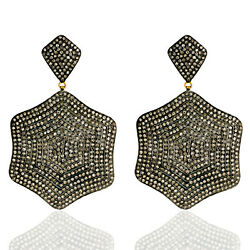 9.6ct Pave Diamond Dangle Earrings Gold 925 Sterling Silver Vintage Look Jewelry