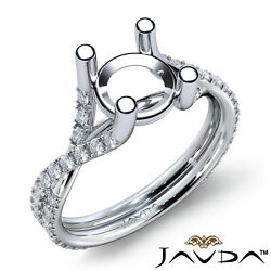 French Cut Pave Twisted Shank Diamond Engagement Round Semi Mount Ring 0.45ct