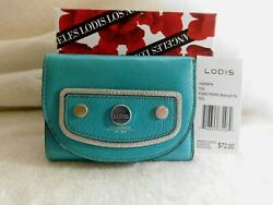 Lodis Pismo Pearl Mallory French Purse RFID Teal + Metallic Accent NWT MSRP $72