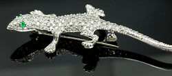 Vintage 18K White Gold Diamond and Emerald Gecko BroochPin