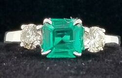 1.55ct.vintage 14k White Gold Three Stone Engagement Natural Green Emerald Ring