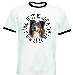 Black Collie Dog Circle BLACK RINGER COTTON TSHIRT