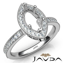 Halo Micro Pave Set Diamond Engagement Marquise Womenand039s Semi Mount Ring 0.50ct