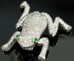 Vintage Frog BroochPin 18K White Gold Diamond & Emerald Articulated ArmsLegs