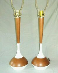 2 Iconic Vintage Mid Century Mod Brass Rosewood Laurel Table Lamps Eames Era