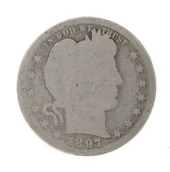 Raw 1897-s Barber 25c Uncertified Ungraded New Orleans Mint Silver Quarter Coin