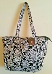 NWT!! Stone Mountain Black & White Floral Quilted 100% Cotton Tote Bag