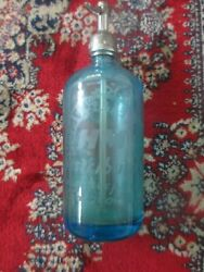C1940s Poughkeepsie Ny Home Beverages Blue Selter Bottle Czechoslovakia