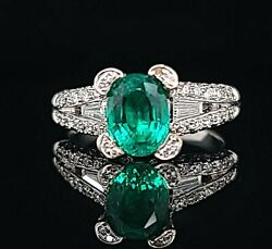 18k White Gold Ring 2.33ct. Gem Colombian Green Emerald