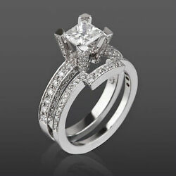 DIAMOND BAND SET RING SOLITAIRE ACCENTED 18K WHITE GOLD 2.39 CT NATURAL WOMEN