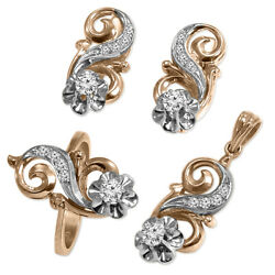 14k Rose And White Gold Diamond Ring Earrings And Pendant In Russian Jewelry Set