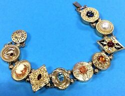 Vintage Krementz Victorian Slide Bracelet 14k Gold Filled Genuine Gemstones 7