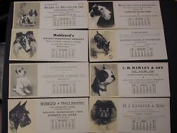 12 Calendar Ink Blotters Sept 1935-aug 1936 Dogs And Advertising Excellent Year