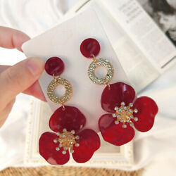 Fashion Women flower Acrylic Resin Dangle Ear Studs Earrings jewelry Gift