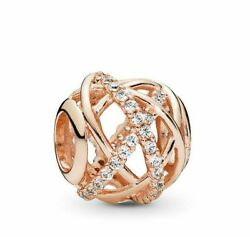 Real 925 Sterling Silver Rose Gold Galaxy Openwork wired ball bead CZ Charm