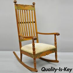 Antique Victorian Oak Wood Arts And Crafts Rocker Rocking Chair With Brass Accents