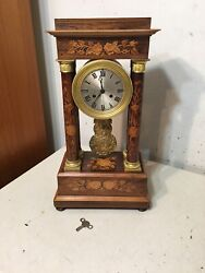 Fabulous Antique French Empire Portico Clock Inlaid Floral Motif