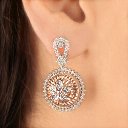 Genuine 1.15 Ct Floral Shape Diamond Stud Earrings Solid 14k White And Rose Gold