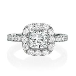 Side Stones 2 Ct Diamond Halo Ring Women Certified Natural 14 Kt White Gold Si2