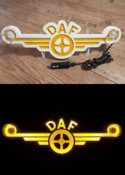3d 24v Led Light Neon Plate For Daf Xf 105 106 Truck Yellow Sign Decoration Logo