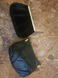 Vintage Clutch Purses Leather and Velvet $16.00