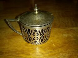 Rare Antique Frank M. Whiting Sterling Silver 925 And Cobalt Mustard Condiment Pot