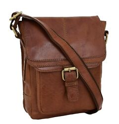 Genuine Tan Leather Bag For Mens Vintage Cross Body Flight Rugged Casual Bag New