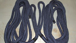 Pair2 3/4 X 25and039 Double Braid Nylon Dock Line Mooring/anchor Rope Boat Navy