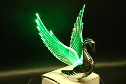 Flying Swan 40and039s 50and039s Hood Ornament Custom Hot Rod Truck Clear Wings Green Led