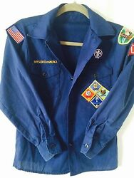 Boy Scout Of America-navy Blue Uniform Shirt With Patches - Size Youth