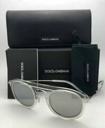 Dolce And Gabbana Sunglasses Dg 2169 05/6g 48-26 Clear-silver Frame W/ Grey Lenses