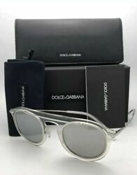New Dolce And Gabbana Sunglasses Dg 2169 05/6g 48-26 Clear And Silver W/ Grey+mirror