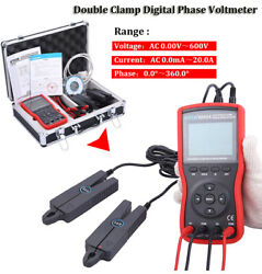 Double Clamp Digital Phase Voltmeter Ac Current Voltage Tester For Field Testing