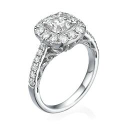 Halo Set Diamond Ring Estate 4 Prong 1.9 Ct Real Accented Vs2 14 Kt White Gold