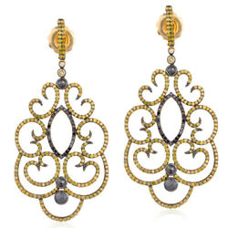 4.6ct Pave Diamond 18k Gold 925 Sterling Silver Designer Dangle Earrings Jewelry