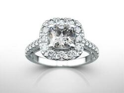 Womens 1.9 Ct Halo Diamond Ring Appraised 14k White Gold Estate Vs Earth Mined