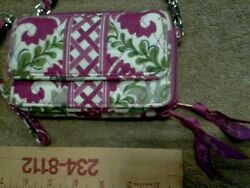 Vera Bradley All in One Crossbody Wallet Purse Fuchia amp; Green Floral $25.00