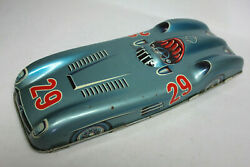 Vintage Mercedes Racer Tin Plate Silver Arrow Friction, Made In Western Germany